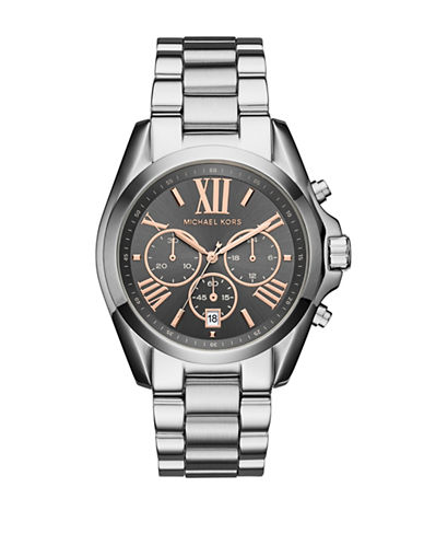 Michael Kors Bradshaw Stainless-Steel Chronograph Watch-SILVER-One Size