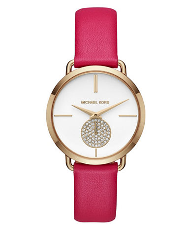 Michael Kors Portia Goldtone Stainless Steel Pink Leather Strap Watch-PINK-One Size