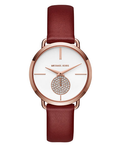 Michael Kors Portia Rose Goldtone Stainless Steel Red Leather Strap Watch-RED-One Size
