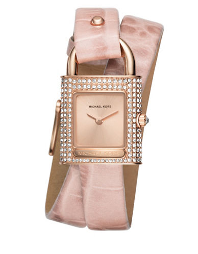 Michael Kors Isadore Rose Goldtone Stainless Steel Pink Leather Strap Watch-PINK-One Size