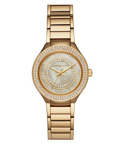 Michael Kors Mini Kerry Goldtone Stainless Steel Link Bracelet Watch-GOLD-One Size