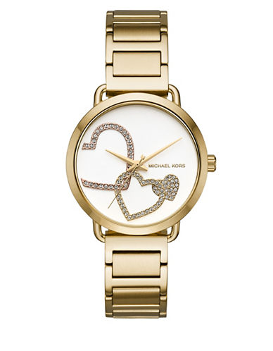 Michael Kors Portia Goldtone Stainless Steel Watch-GOLD-One Size