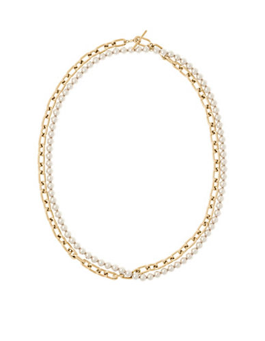 Michael Kors Faux Pearl and Stainless Steel Link Necklace-GOLD-One Size