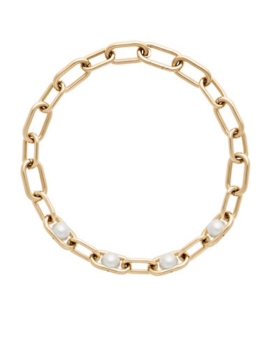 Michael Kors Faux Pearl and Stainless Steel Link Collar Necklace-GOLD-One Size