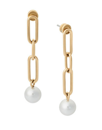 Michael Kors Faux Pearl and Stainless Steel Link Drop Earrings-GOLD-One Size