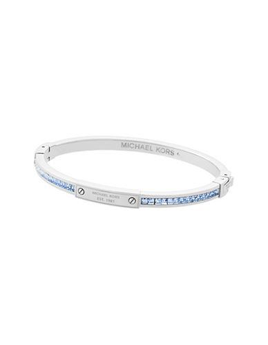 Michael Kors Color Crush Silver-Tone and Light Sapphire Slim Bangle Bracelet-SILVER-One Size