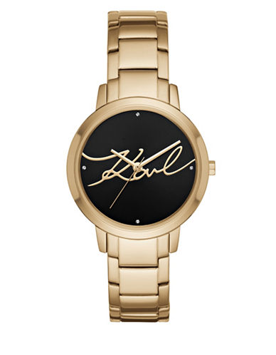 Karl Lagerfeld Paris Camille Goldtone Stainless Steel Link Bracelet Watch-GOLD-One Size