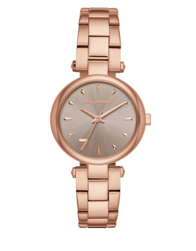 Karl Lagerfeld Paris Aurelie Rose Goldtone Stainless Steel Link Bracelet Watch-ROSE GOLD-One Size