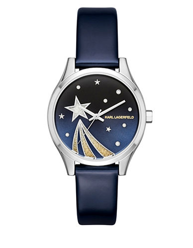 Karl Lagerfeld Paris Janelle Stainless Steel Shooting Star Blue Leather Strap Watch-MULTI-One Size