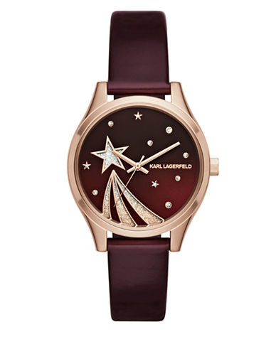 Karl Lagerfeld Paris Janelle Rose Goldtone Shooting Star Merlot Leather Strap Watch-MULTI-One Size