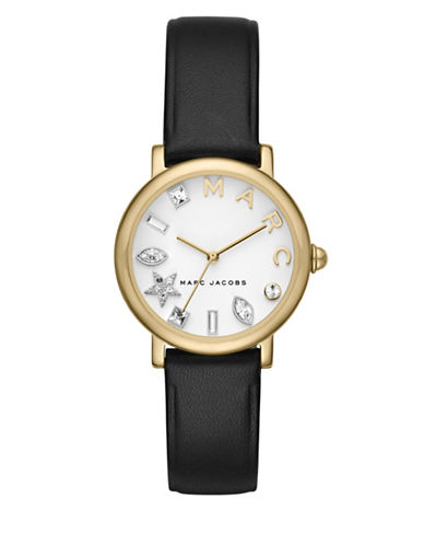 Marc Jacobs Classic Goldtone Black Leather Strap Watch-BLACK-One Size