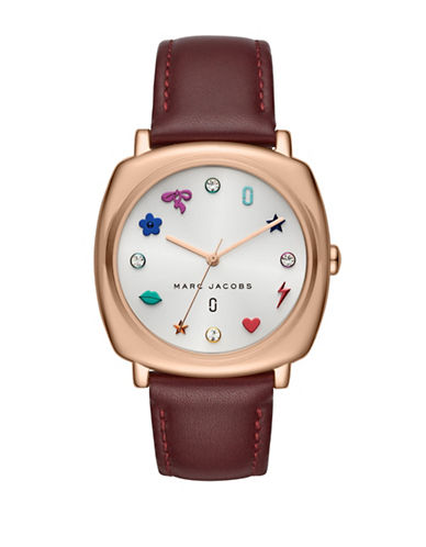 Marc Jacobs Mandy Rose Goldtone Stainless Steel Leather Strap Watch-WINE-One Size