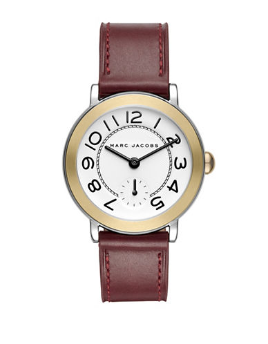 Marc Jacobs Riley Two-Tone Stainless Steel Leather Strap Watch-WINE-One Size