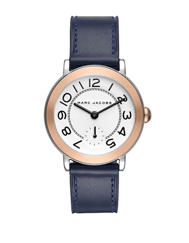 Marc Jacobs Riley Two-Tone Stainless Steel Leather Strap Watch-BLACK-One Size