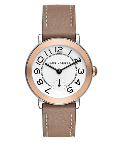 Marc Jacobs Riley Two-Tone Stainless Steel Leather Strap Watch-TAN-One Size