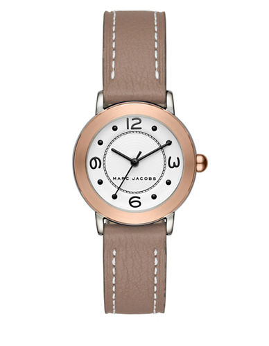 Marc Jacobs Riley Two-Tone Stainless Steel Grey Leather Strap Bracelet Watch-TAN-One Size