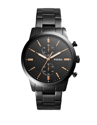 Fossil Townsman Chronograph Black Stainless Steel Link Bracelet Watch-BLACK-One Size