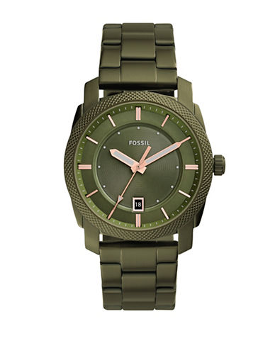 Fossil Machine Olive Stainless Steel Link Bracelet Watch-GREEN-One Size