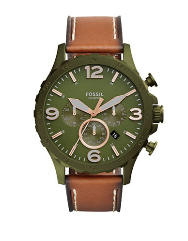 Fossil Nate Chronograph Olive Stainless Steel Light Brown Leather Strap Watch-BROWN-One Size