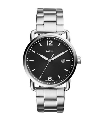Fossil The Commuter Stainless Steel Link Bracelet Watch-SILVER-One Size