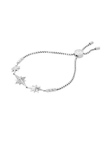 Michael Kors Starburst Pavé Silvertone Slider Bracelet-SILVER-One Size