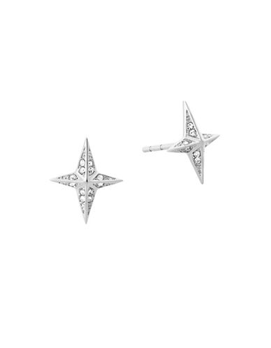 Michael Kors Starburst Pavé Silvertone Stud Earrings-SILVER-One Size
