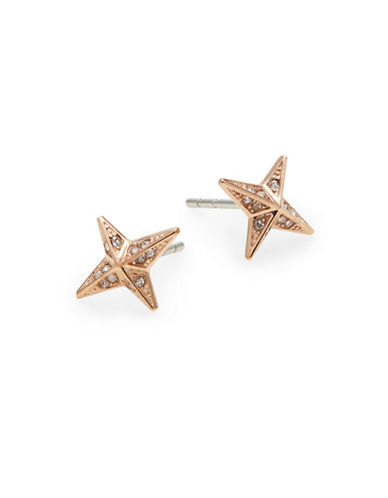 Michael Kors Brilliance Stainless Steel and Crystal Stud Earrings-ROSE GOLD-One Size