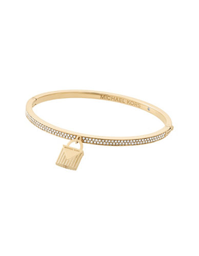 Michael Kors Pavé Goldtone Lock Charm Bangle-GOLD-One Size