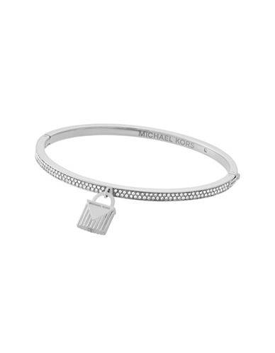 Michael Kors Logo Love Silvertone Hinged Bracelet with Padlock Charm-SILVER-One Size