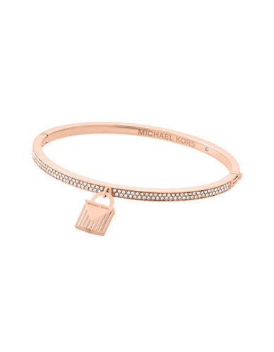 Michael Kors Pavé Rose-Goldtone Lock Charm Bangle-ROSE GOLD-One Size