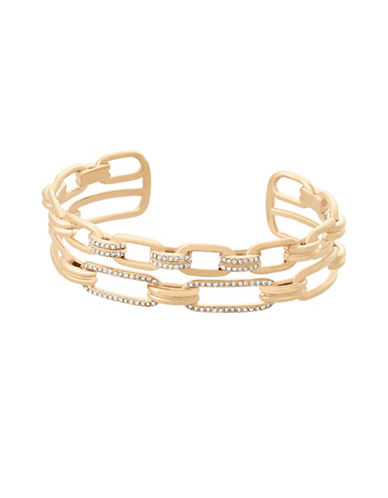 Michael Kors Iconic Links Goldtone Open Cuff Bracelet-GOLD-One Size