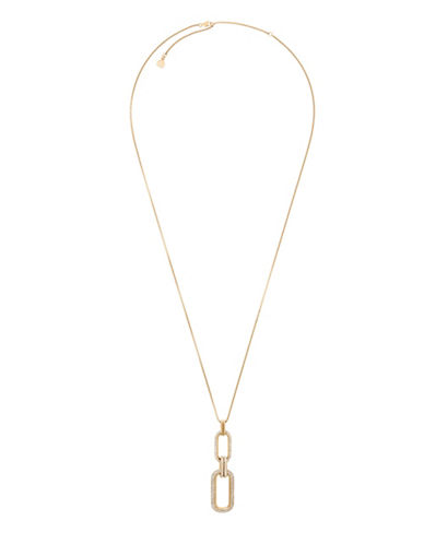 Michael Kors Iconic Links Goldtone Statement Long Pendant Necklace-GOLD-One Size
