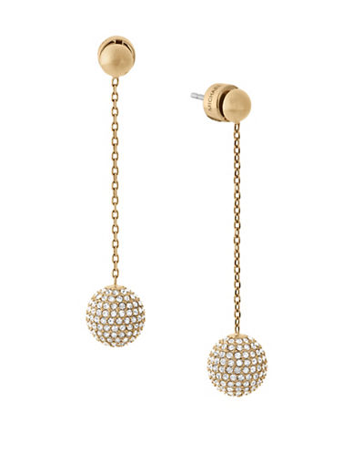 Michael Kors Iconic Links Goldtone Linear Fireball Earrings-GOLD-One Size