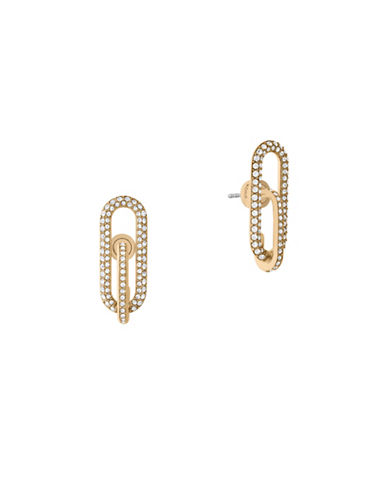 Michael Kors Iconic Links Goldtone Post Earrings-GOLD-One Size