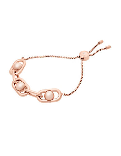 Michael Kors Faux Pearl and Stainless Steel Link Slider Bracelet-ROSE GOLD-One Size