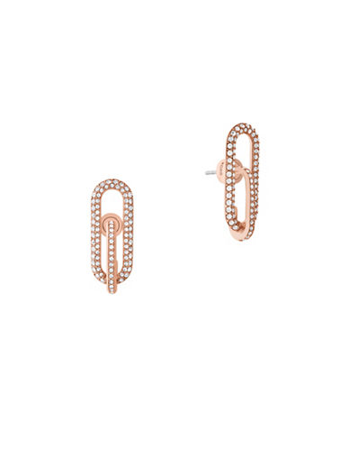 Michael Kors Iconic Links Rose Goldtone Post Earrings-ROSE GOLD-One Size