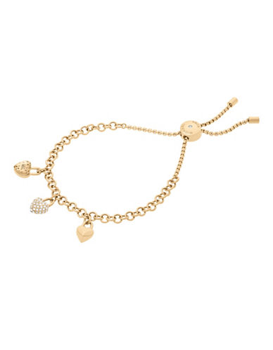 Michael Kors Logo Love Gold-Tone Slider Bracelet-GOLD-One Size