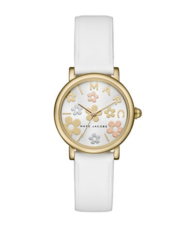 Marc Jacobs Classic Goldtone White Leather Strap Watch-WHITE-One Size