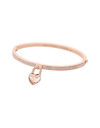 Michael Kors Logo Love Rose Gold-Tone Hinged Bracelet-ROSE GOLD-One Size