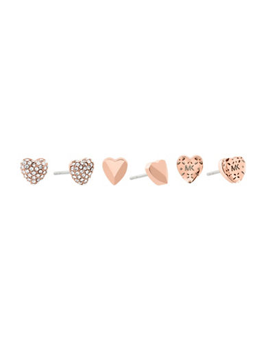 Michael Kors Logo Love Rose Gold-Tone Stud Earring Set-ROSE GOLD-One Size