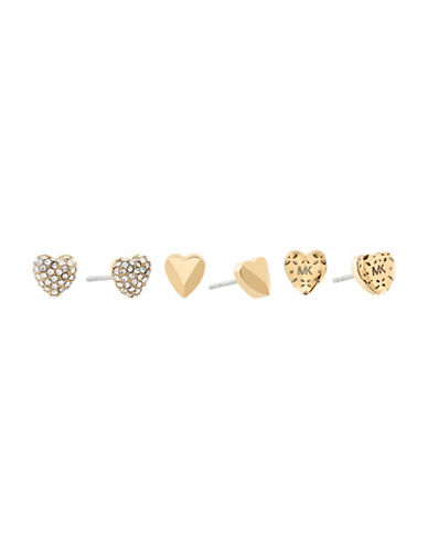 Michael Kors Logo Love Gold-Tone Stud Earring Set-GOLD-One Size
