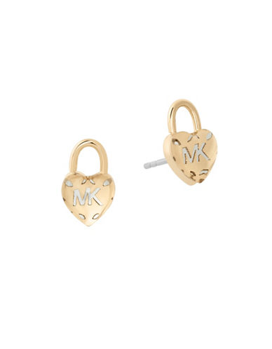 Michael Kors Logo Love Gold-Tone Stud Earrings-GOLD-One Size