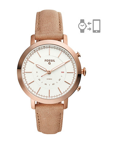 Fossil Q Neely Bone Leather Hybrid Smartwatch-ROSE GOLD-One Size