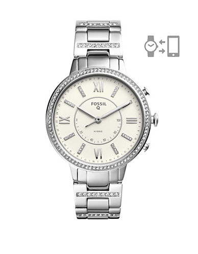 Fossil Q Virginia Stainless Steel Hybrid Smartwatch-SILVER-One Size