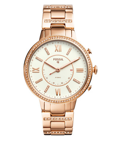Fossil Q Virginia Rose Goldtone Hybrid Smartwatch-ROSE GOLD-One Size