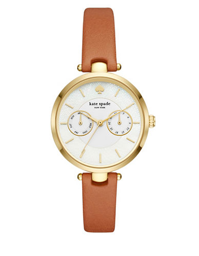 Kate Spade New York Holland New York Goldtone Stainless Steel Strap Watch-BROWN-One Size