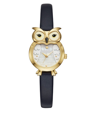 Kate Spade New York Owl-Shaped Goldtone Stainless Steel Leather Strap Watch-BLACK-One Size