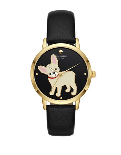 Kate Spade New York Grand Metro Goldtone Leather Watch-BLACK-One Size