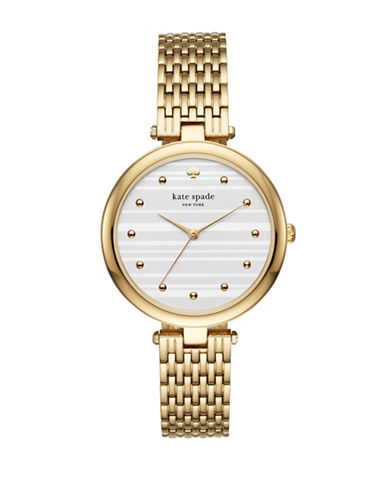 Kate Spade New York Varick Stainless Steel Goldtone Bracelet Watch-GOLD-One Size