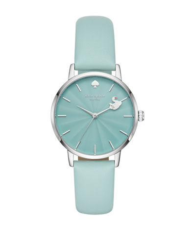Kate Spade New York Metro Silvertone Leather Strap Watch-BLUE-One Size